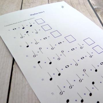 A4 Rhythm Quiz 3 front